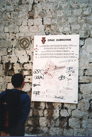 Dubrovnik War Map: dots represent every place in the Old Town that was hit by mortars and shells, photo by author
