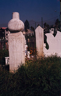 Muslim (dome on top) and Serb (wings of a dove) Gravestones in a cemetery in Sarajevo near the old Olympic Stadium, photo by author